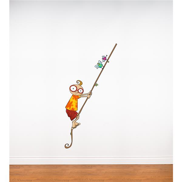 Appliqué mural pour enfants, Leo sur une liane, 2,3' x 3,3'