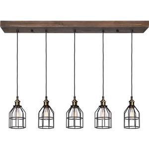 Luminaire suspendu Roseneath à 5 lumières, bois et acier