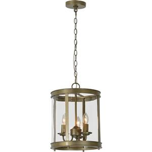 Luminaire suspendu Rowan à 3 lumières, argent antique, 12.5