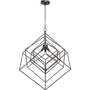 Luminaire suspendu Andrano, 3 lumières, argent antique foncé