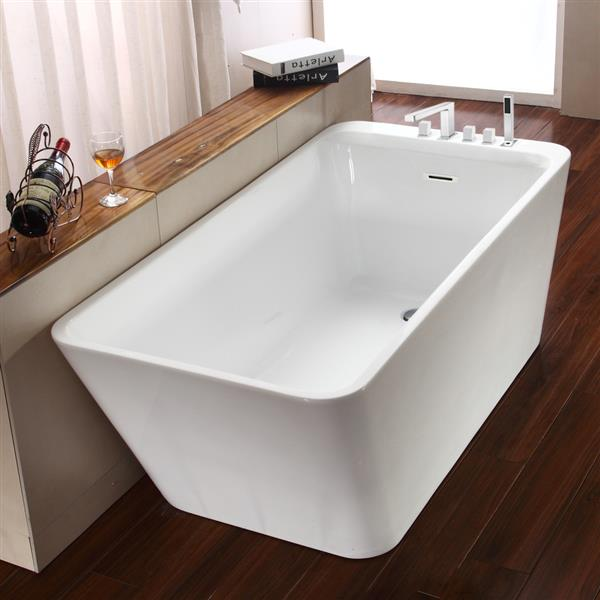 Jade Bath Missouri 67-in White  One Piece Freestanding Tub