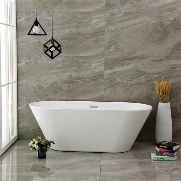 Jade Bath Aura 59-in White One Piece Freestanding Tub
