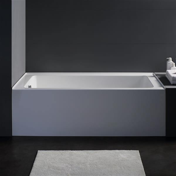 Jade Bath Zen 60-in White Alcove Tub with Left Drain