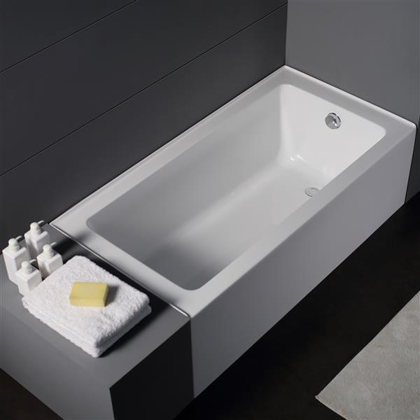 Jade Bath Zen 66-in White Alcove Tub with Left Drain