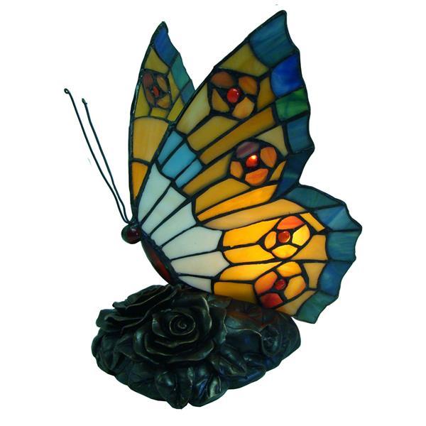 Veilleuse papillon style Tiffany, aqua