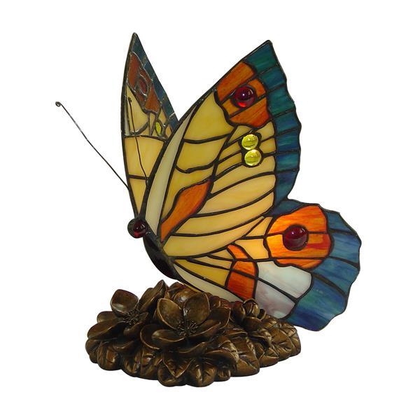 Veilleuse papillon style Tiffany, jaune