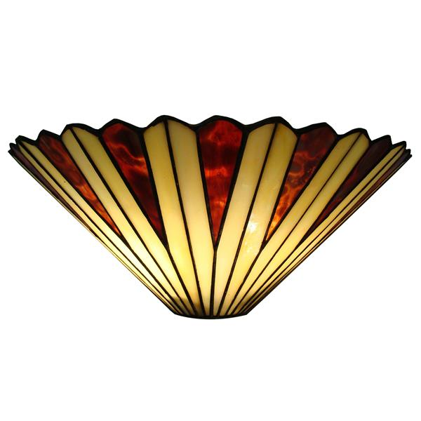 Fine Art Lighting Ltd. Tiffany-Style 8-in x 16-in x 6.25-in 2 Light Vintage Bronze Wall Sconce