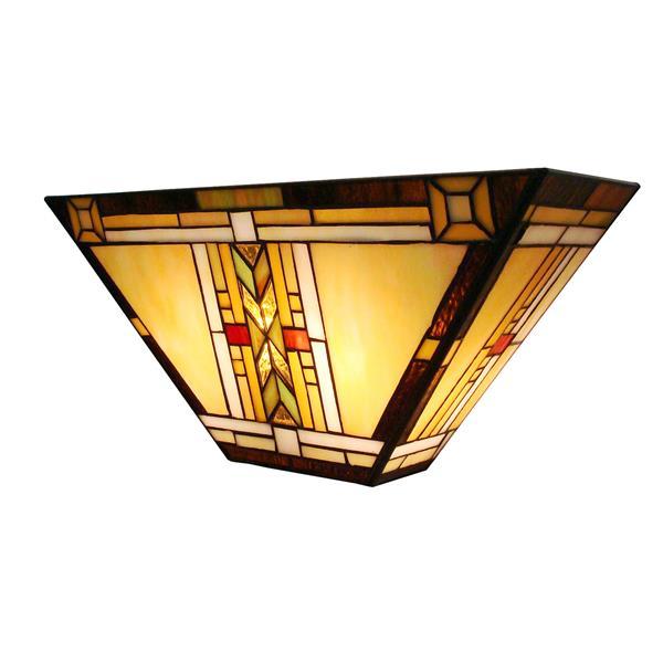 Fine Art Lighting Ltd. Tiffany-Style 5-in x 16-in x 7.5-in 2 Light Vintage Bronze Wall Sconce