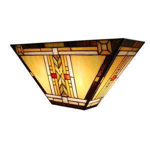 Fine Art Lighting Ltd Tiffany-Style 5-in x 16-in x 7.5-in 2 Light Vintage Bronze Wall Sconce