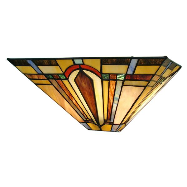 Fine Art Lighting Ltd. Tiffany-Style 5-in x 16-in x 7-in 2 Light Vintage Bronze Wall Sconce