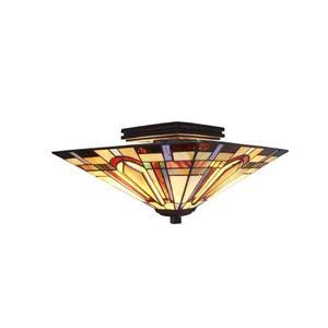 Fine Art Lighting Ltd. Tiffany 2-Light Bronze 14-in x 14-in x 8-in Semi-Flush Mount