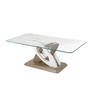 Brassex Donatello 26-in x 26-in x 17.6-in Faux Wood And Tempered Glass Rectangular Coffee Table