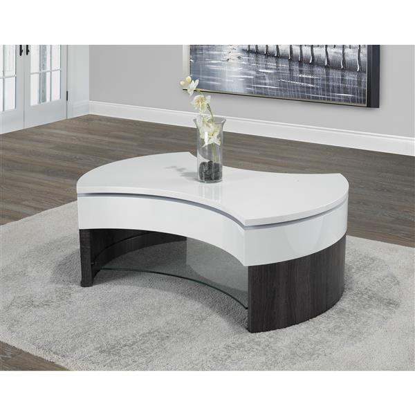 Brassex 42-in x 21.6-in x 17-in High Gloss White Coffee Table