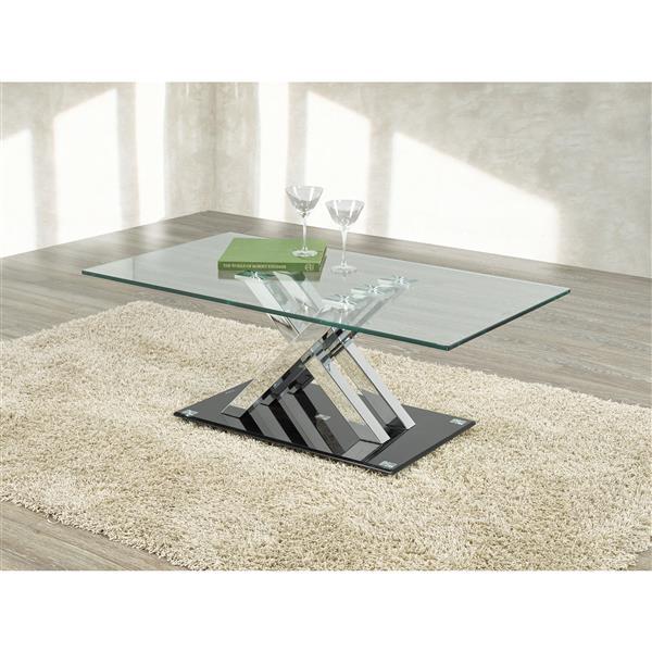 Brassex Amara 18-in x 25.5-in x 25.5-in Clear Glass Top Finish Coffee Table