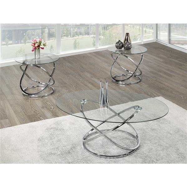 Brassex 31.5-in x 19-in Chrome Frame And Clear Glass Top 3-Piece Oval Coffee Table