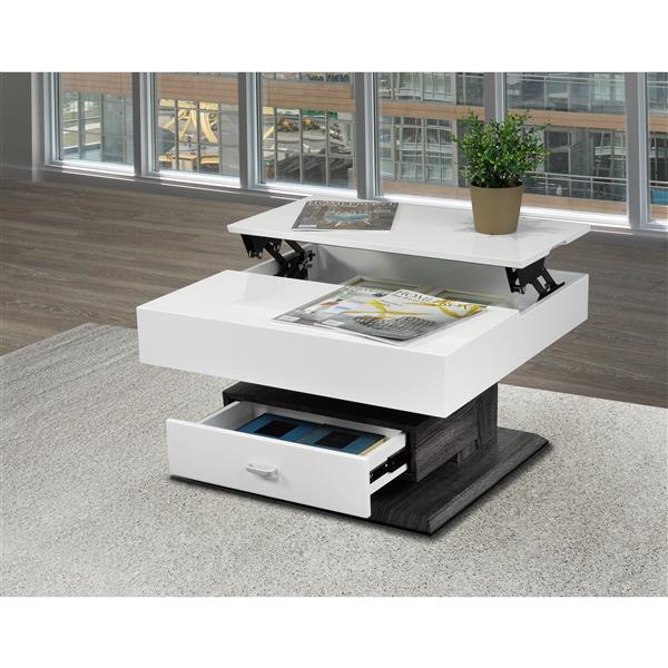 Table basse avec rangement, blanc et gris
