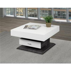 Brassex 29.5-in x 29.5-in x 17.7-in White and Grey Rotating Square Lift Top Coffee Table With Storage Drawer