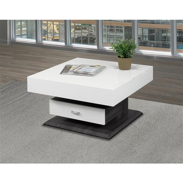 Table basse avec rangement, blanc