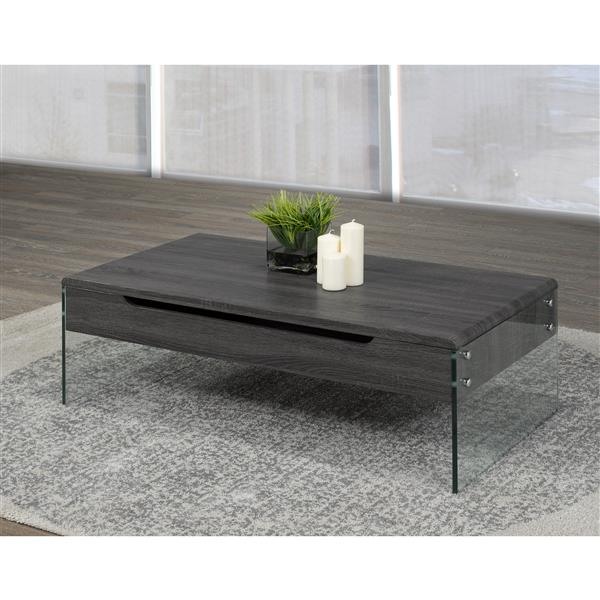 Brassex 21.6-in x 21.6-in x 14.6-in Grey Wood Rectangular Lift Top Coffee Table With Glass Frame