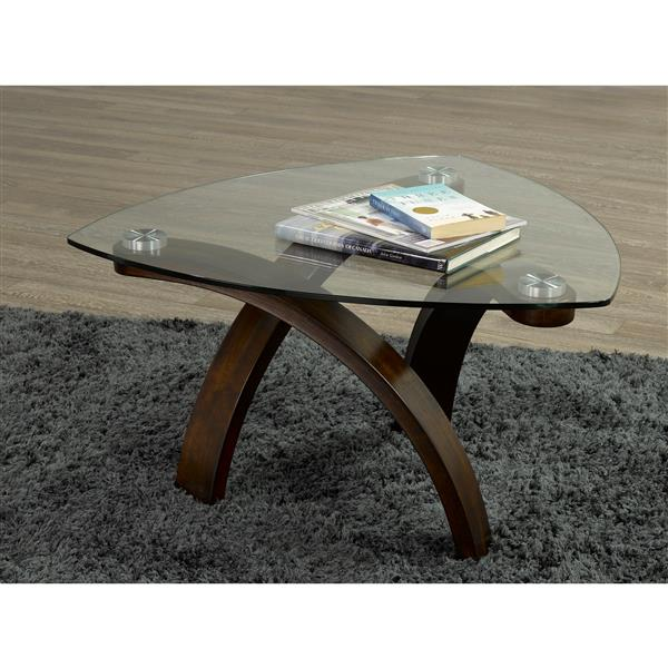 Brassex Tegan 34.25-in x 34.25-in x 19-in With Espresso Wood Frame and Glass Top  Coffee Table