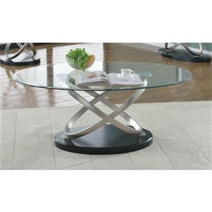 Brassex Chantal 30-in x 19-in Metal Frame And Clear Glass Top Oval Coffee Table