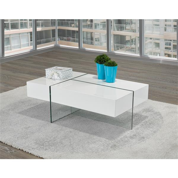 Brassex 23.6-in x 23.6-in x 14.6-in High Gloss White Rectangular Coffee Table