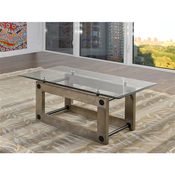 Fresno Rectangular Coffee Table 24- in x 24- in x 18.50- in With Ash Brown Base and Tempered Glass Top