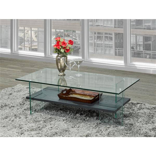 Table basse en verre, gris