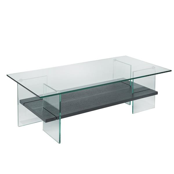 Brassex 23.6-in x 23.6-in x 16-in Grey Coffee Table With Glass Top