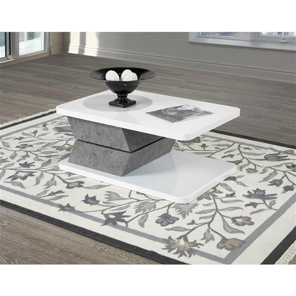 Table basse tournante, blanc