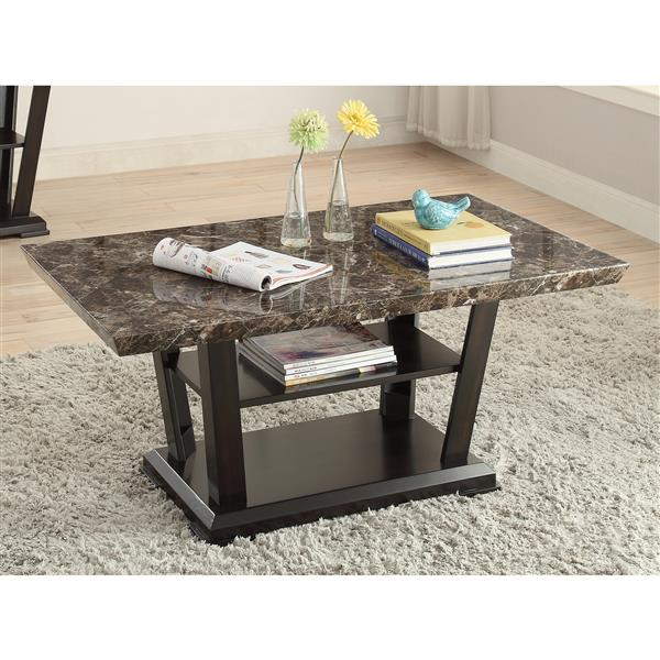 Brassex Charlotte 26-in x 26-in x 20-in Brown Wood Frame And Mosaic Tile Inspired Top Rectangular Coffee Table