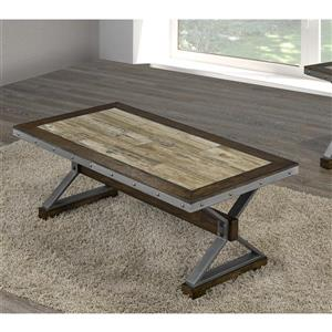Brassex Venetian 24-in x 24-in x 19-in With Slanted Legs and Walnut Finish Rectangular Coffee Table