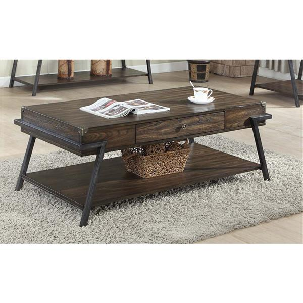 Brassex 26-in x 26-in x 19-in Brown Wood Rectangular Coffee Table