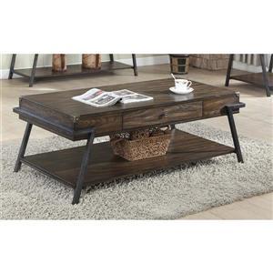 Table basse avec tiroir, brun