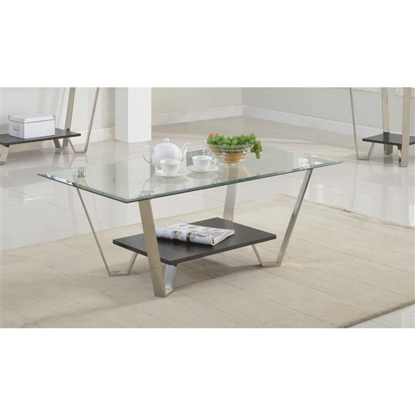Brassex Avalon 18.5-in x 26-in x 26-in Glass Top Coffee Table