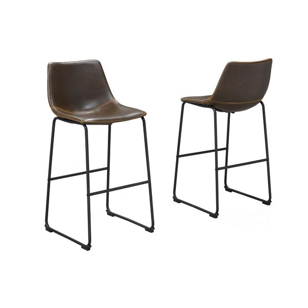 Brassex Brown Acasia Bar Stools (Set of 2)