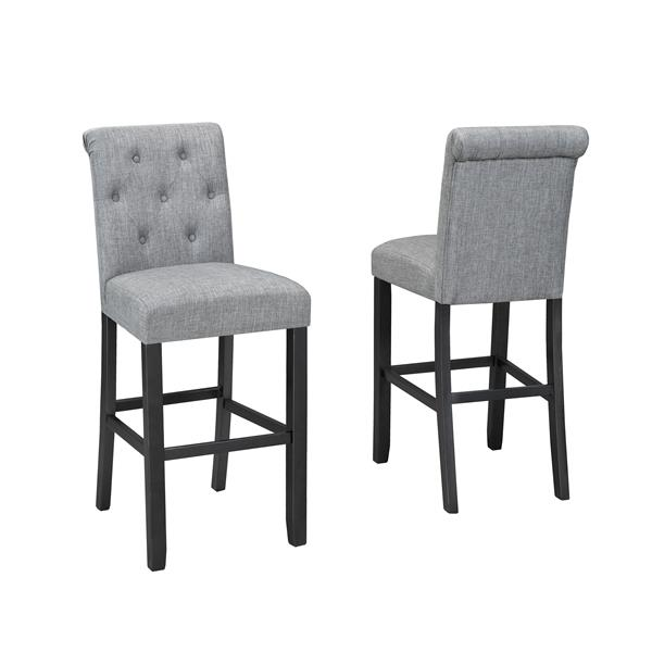 Brassex Tinga Tufted Grey Stools (Set of 2)