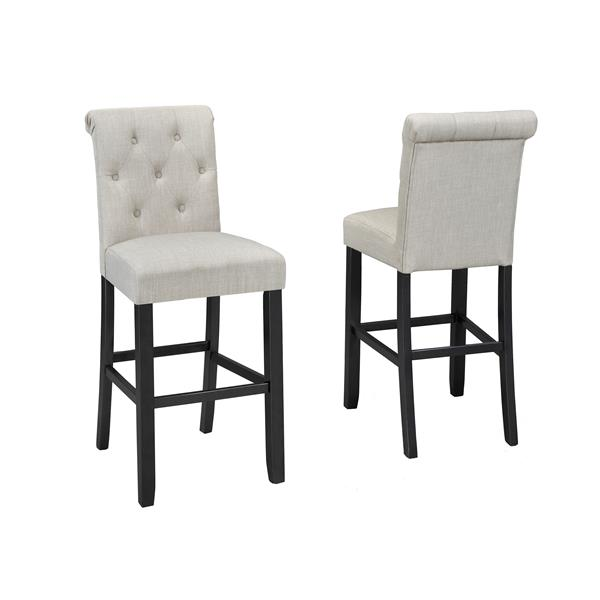 Brassex Tinga Tufted Beige Stools (Set of 2)