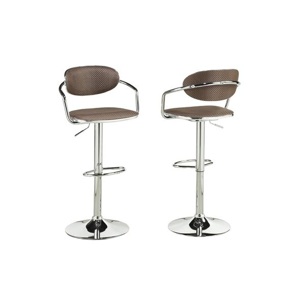 Brassex Milk Chocolate PVC Adjustable Bar Stools (Set of 2)