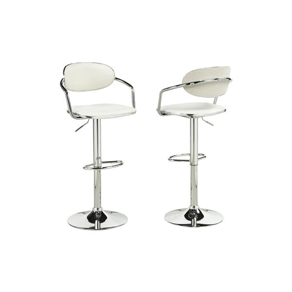 Brassex White Out PVC Adjustable Bar Stools (Set of 2)