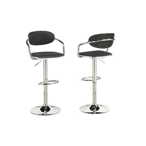 Brassex Midnight Black PVC Adjustable Bar Stools (Set of 2)
