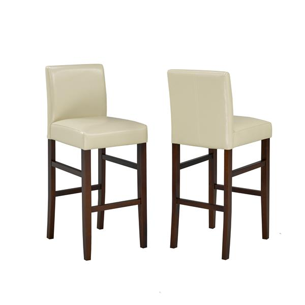 Brassex Cream Faux Leather Bar Stool (Set of 2)