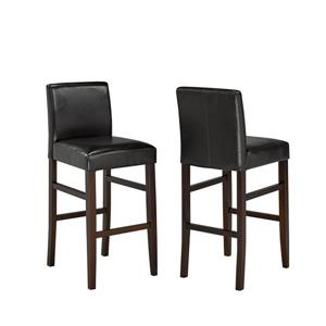 Brassex Espresso Faux Leather Bar Stool (Set of 2)