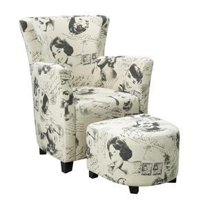 Brassex Beige Club Chair with Ottoman
