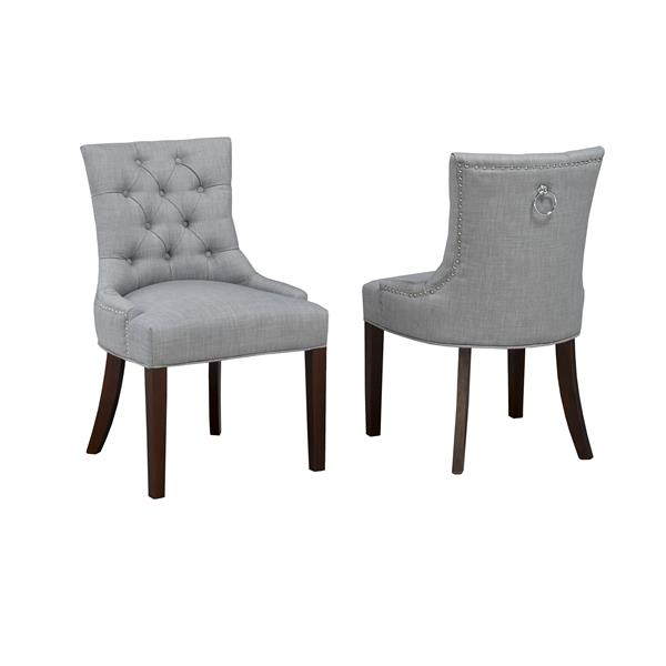 Brassex Grey  Accent Chair  with Nail Head Trim (Set of 2)