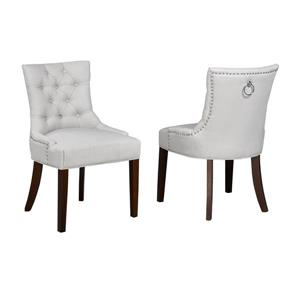 Brassex Beige Accent Chair  with Nail Head Trim (Set of 2)