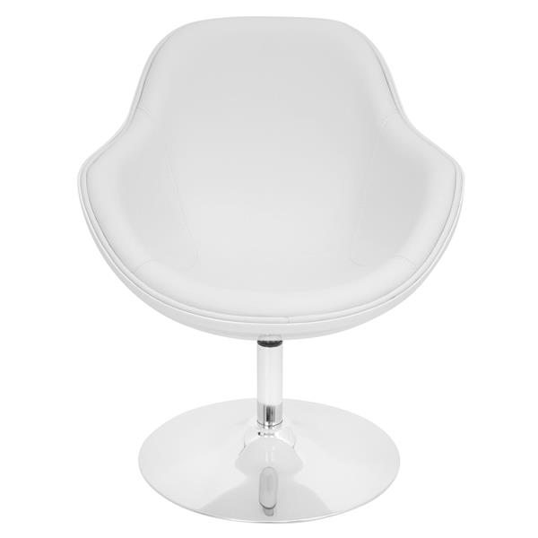 Lumisource Saddlebrook 28-in x 28-in x 31-in Faux Leather White Chair
