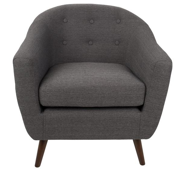 """Chaise Rockwell, 30"""" x 30"""" x 31"""", polyester, gris"""