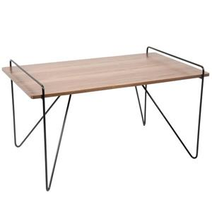 Loft Rectangular Coffee Table 21- in x 34- in x 21- in With Black Metal Legs and Walnut Top
