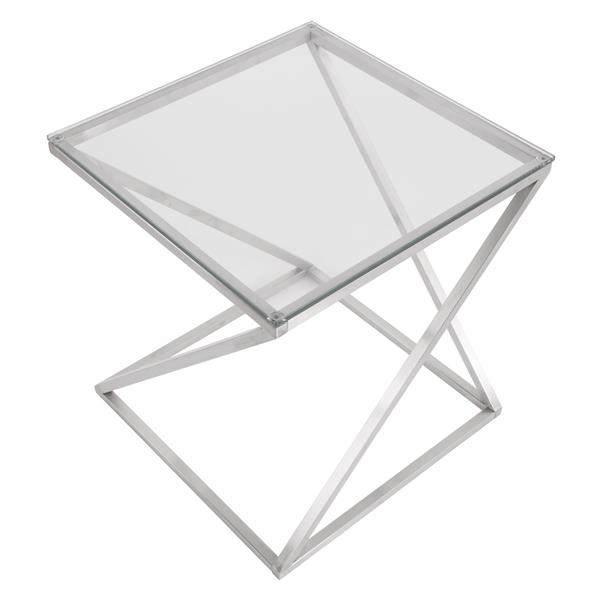 "Table d'appoint 4Z, 20,5"" x 20.5"" x 21,75"", verre"